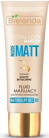 BIELENDA TOTAL LOOK MAKE-UP NUDE MATT Fluid Matujący naturalny beż 02 30 g