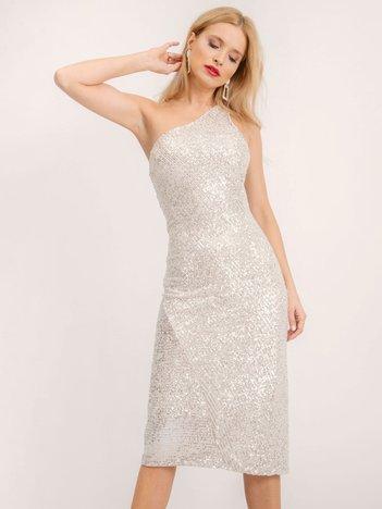 BSL Beżowa elegancka sukienka