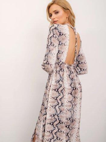 BSL Beżowa sukienka snake print