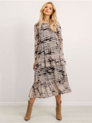 BSL Beżowa sukienka z falbanami