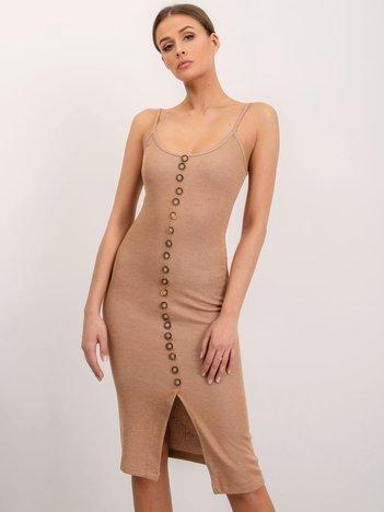 BSL Beżowa sukienka z guzikami