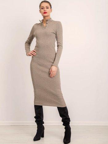 BSL Ciemnobeżowa sukienka dzianinowa