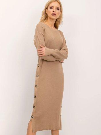 BSL Ciemnobeżowa sukienka z dzianiny