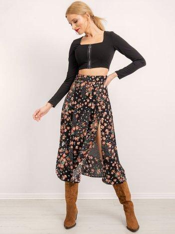 BSL Czarna spódnica w kwiaty