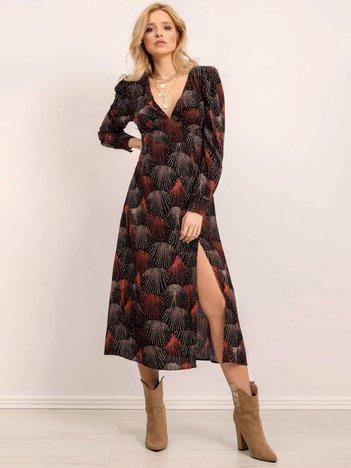 BSL Czarna sukienka w kolorowe printy