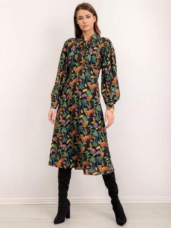 BSL Czarna sukienka w kolorowe wzory