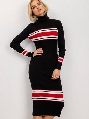 BSL Czarna sukienka w prążek