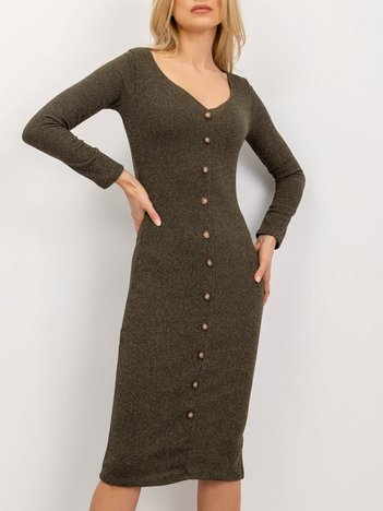 BSL Khaki sukienka z guzikami