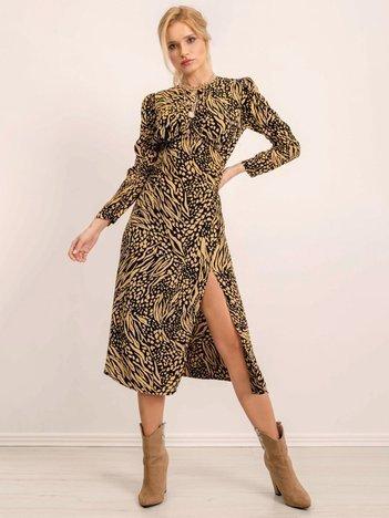 BSL Żółta sukienka w cętki