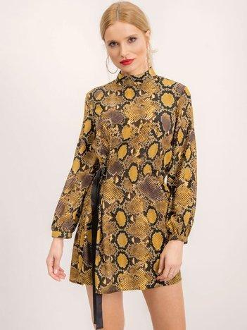BSL Żółta sukienka w wężowe wzory