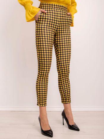 BSL Żółto-czarne spodnie w kratę