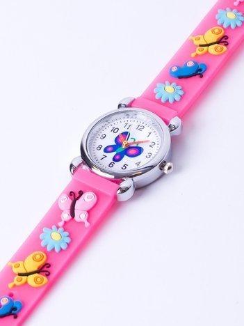 BUTTERFLY Dziecięcy zegarek z motylami w kolorze jasnego różu w jaskrawym odcieniu
