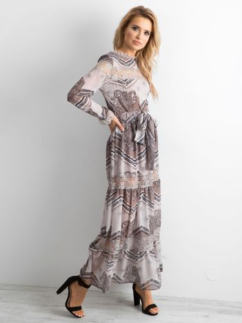 BY O LA LA Beżowa sukienka maxi we wzory