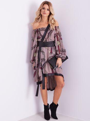 BY O LA LA Beżowo-bordowa sukienka hiszpanka z nadrukiem