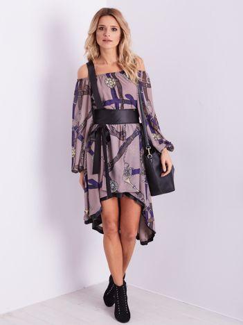 BY O LA LA Beżowo-fioletowa sukienka hiszpanka z nadrukiem