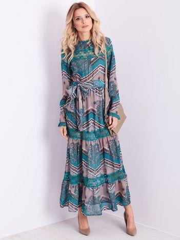 BY O LA LA Beżowo-morska sukienka maxi we wzory