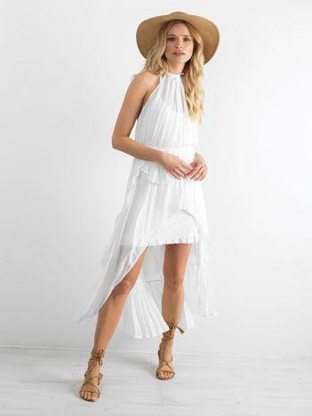 BY O LA LA Biała sukienka z dłuższym tyłem
