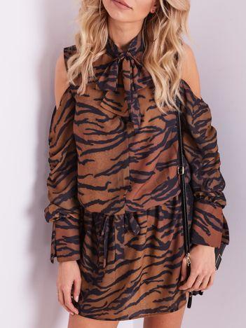 BY O LA LA Brązowo-czarna sukienka w tygrysie paski