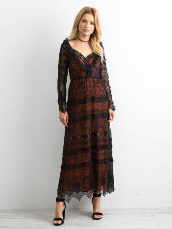 2d4a8bfea9 BY O LA LA Czarna sukienka maxi z koronki