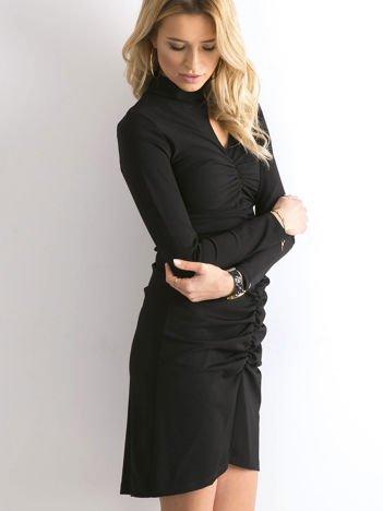 BY O LA LA Czarna sukienka z marszczeniami