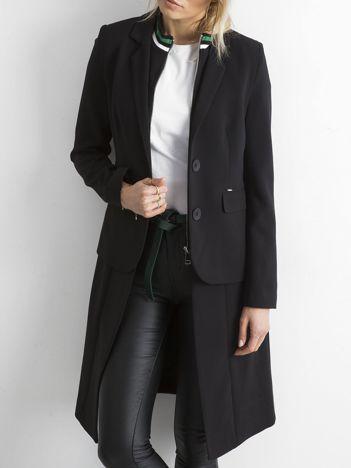 BY O LA LA Czarno-zielony długi żakiet o kroju płaszcza