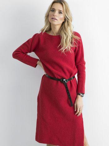 BY O LA LA Czerwona długa sukienka z dzianiny