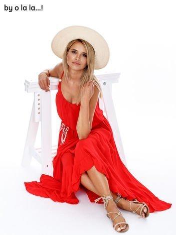 BY O LA LA Czerwona sukienka maxi z wiązaniem