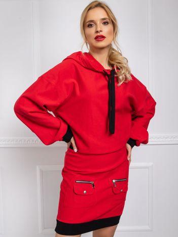 BY O LA LA Czerwona sukienka z kapturem