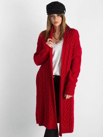 BY O LA LA Czerwony długi sweter