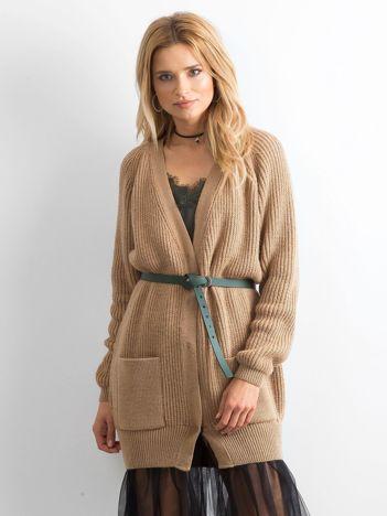 BY O LA LA Długi jasnobrązowy sweter