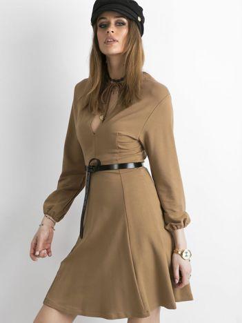 BY O LA LA Jasnobrązowa rozkloszowana sukienka