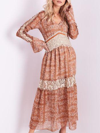BY O LA LA Jasnobrązowa sukienka maxi ze wzorem paisley