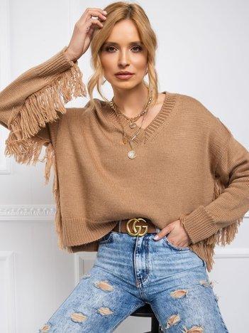BY O LA LA Jasnobrązowy sweter Helen
