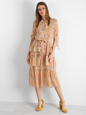BY O LA LA Pomarańczowa sukienka maxi z falbanami