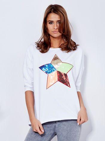 Bawełniana biała bluzka oversize z cekinową gwiazdą