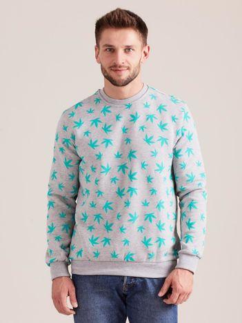 Bawełniana bluza męska z nadrukiem szara