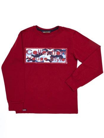 Bawełniana bordowa bluza bluza dla chłopca z moro naszywką