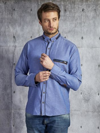 Bawełniana denimowa koszula męska niebieska PLUS SIZE