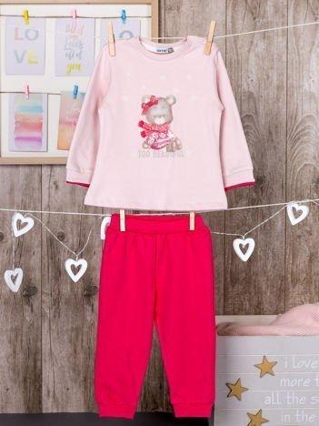 Bawełniana dwuczęściowa dziewczęca piżamka z ociepleniem różowa
