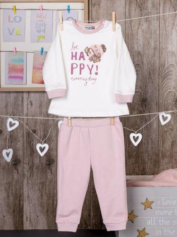 Bawełniana dwuczęściowa ocieplana piżamka dziewczęca różowa