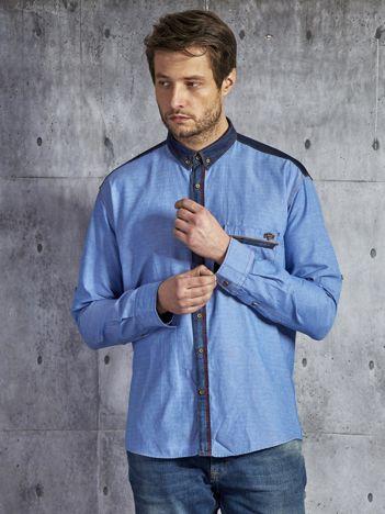 Bawełniana gładka koszula męska z kieszenią niebieska
