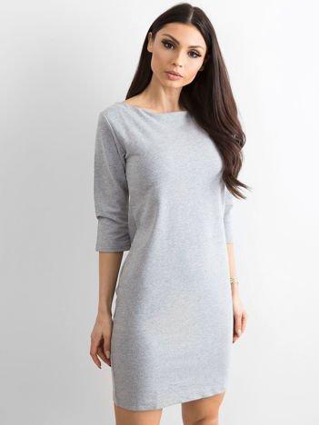 Bawełniana gładka sukienka oversize szara