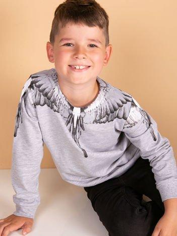 Bawełniana jasnoszara bluza dla chłopca z nadrukiem skrzydeł