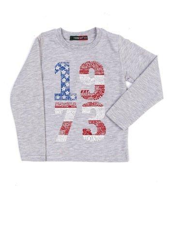 Bawełniana jasnoszara bluzka dziecięca z nadrukiem