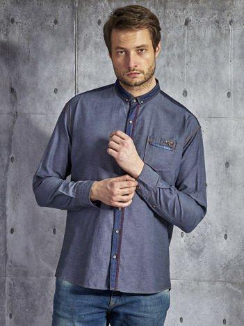 Bawełniana koszula męska z ozdobną listwą granatowa