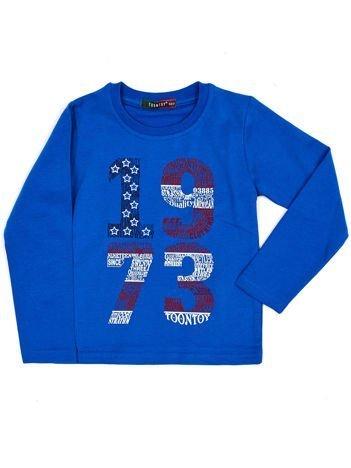 Bawełniana niebieska bluzka dziecięca z nadrukiem
