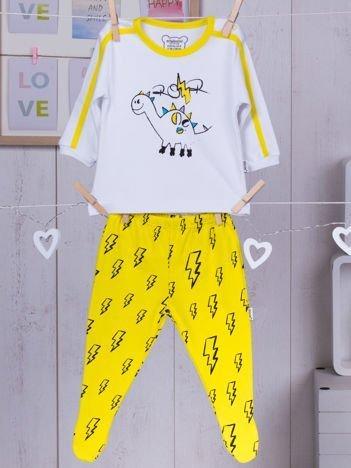 Bawełniana piżamka dziecięca z dinozaurem biało-żółta