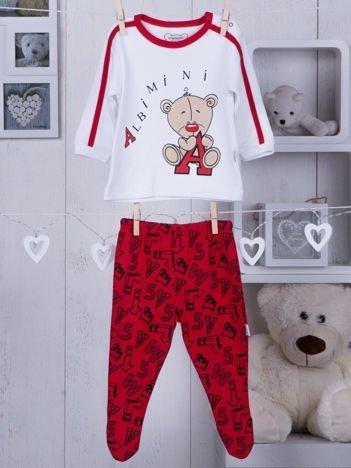 Bawełniana piżamka dziecięca z misiem biało-czerwona