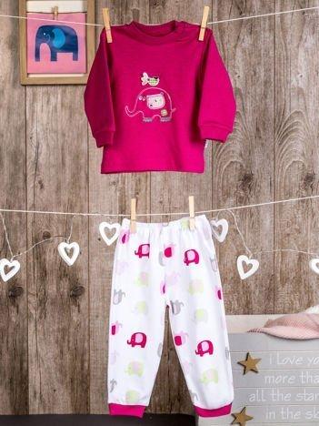 Bawełniana piżamka dziewczęca w słoniki różowa