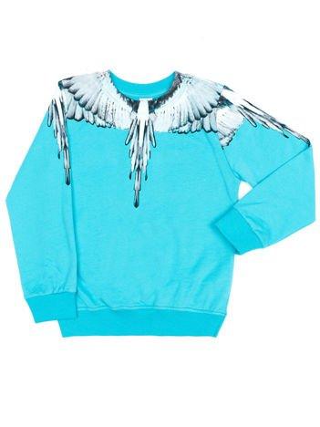 Bawełniana turkusowa bluza dziecięca z nadrukiem skrzydeł